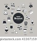 dessert hand drawn doodle icons set. 43307159