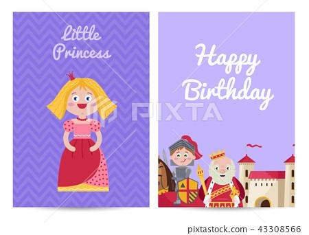 Happy birthday kids postcard with princess 43308566