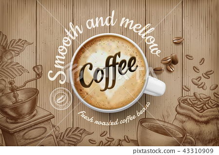 Coffee ads in engraving style 43310909