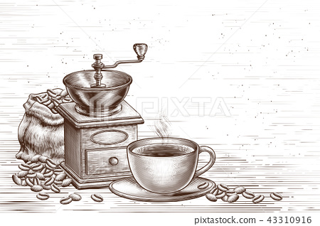 Engraved coffee shop background 43310916