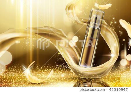 Golden skincare spray ads 43310947