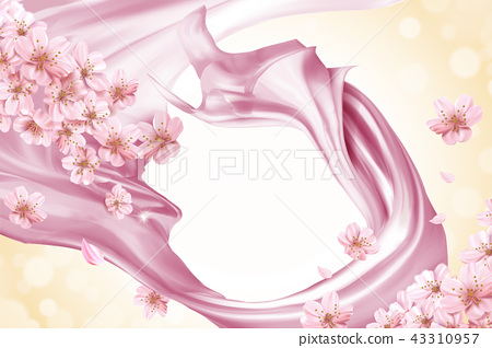 Pink smooth satin background 43310957