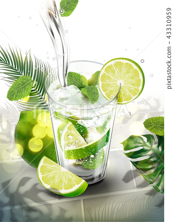 Liquid pouring into mojito 43310959