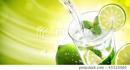 Liquid pouring into mojito 43310960