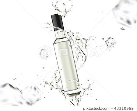 Glass bottle with splashing liquid 43310968