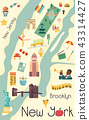 City map of New York with famous attractions 43314427