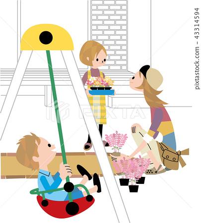 做園藝工作的母親和孩子 43314594