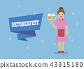 Oktoberfest with Waitress serving glass of beer 43315189