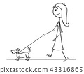 Cartoon of Woman Walking With Small Dog 43316865
