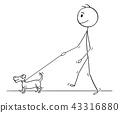 Cartoon of Man Walking With Small Dog 43316880