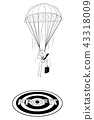 Cartoon of Skydiver Businessman With Parachute Landing at Profit Target 43318009