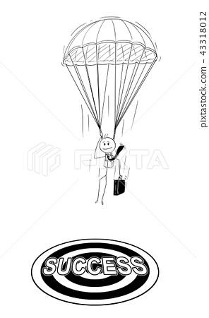 Cartoon of Skydiver Businessman With Parachute Landing at Success Target 43318012
