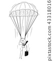 Cartoon of Skydiver Businessman With Parachute 43318016