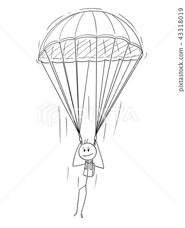 Cartoon of Skydiver Man or Businessman With Parachute 43318019