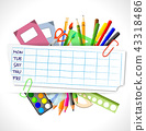 school timetable with stationery 43318486