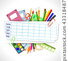 school timetable with stationery 43318487