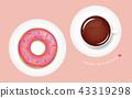 도넛, 커피, 핑크 43319298