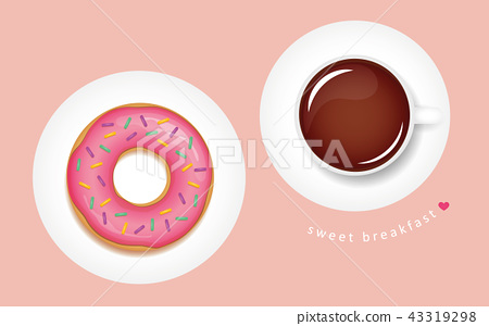 tasty pink donut and coffee breakfast 43319298