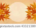 秋天背景水彩例證,楓葉和滿月概念 43321380