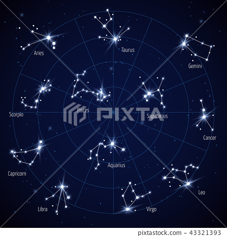Sky Star Map.Vector Sky Star Map With Constellations Stars Stock Illustration