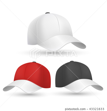 baseball cap black white and red vector templates stock