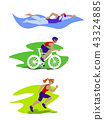 Triathlon woman vector set. 43324885