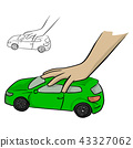 hand of a child playing a green car toy vector 43327062