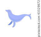 Lovely blue fur seal, cute sea creature character vector Illustration on a white background 43329672