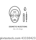 Cosmetic Injections, Beauty injections. Thin line art design, Vector flat illustration 43330423