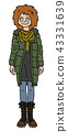 The funny redhead girl in a khaki coat 43331639