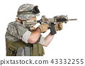 US ARMY soldier with assault rifle on white  43332255