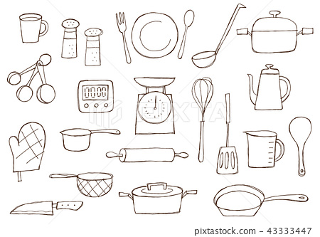 Kitchen Miscellaneous Goods Line Drawing Stock