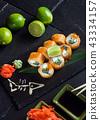 sushi on black background 43334157