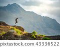 Young man jumping on Queenstown hill, New Zealand 43336522