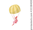 Woman flying with parachute. Extreme hobby. Young girl in pink suit and protective goggles 43338400