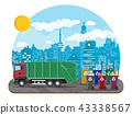 Urban cityscape with garbage car 43338567