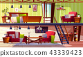 Two storey loft rooms interior vector illustration 43339423