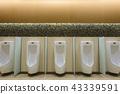 Row of outdoor urinals men public toilet 43339591