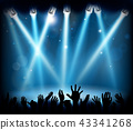 Stage Party Crowd Concert People Hands Silhouette 43341268