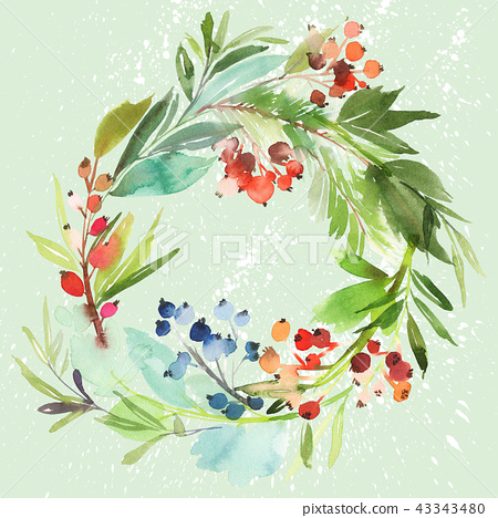 Christmas wreath with berries watercolor postcard. 43343480