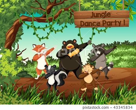 Wild animals jungle dance party 43345834