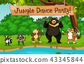 Animals and jungle dance party 43345844