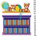 Bookshelf and toys on white background 43345893