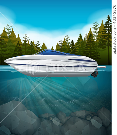 A speedboat in the lake 43345976
