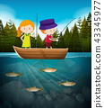 Boy and girl fishing in the lake 43345977