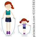 Mother and daughter jump rope 43345983