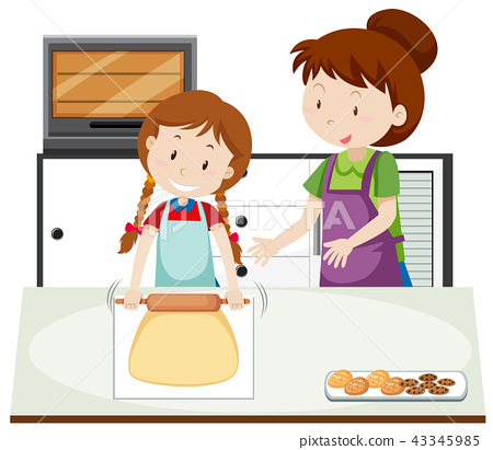 A mother teach daughter to bake 43345985