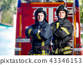 Photo of two young firemen with hands on waist near fire engine 43346153