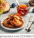 French toasts with honey, fruits and tea 43346623