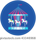 Carousel With Horses Colorful Icon 43346968